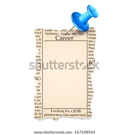 illustration of bank job classified in newspaper - stock vector