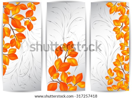 Illustration of banners with colorful autumn leaves and ornamental background - stock vector