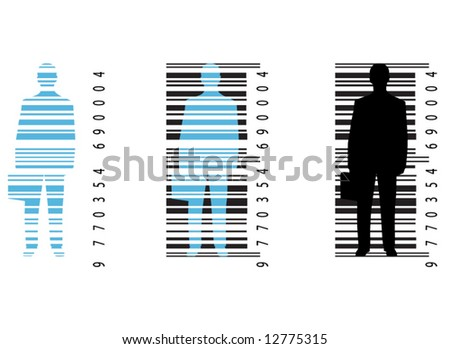 Illustration of bar-code and man - stock vector