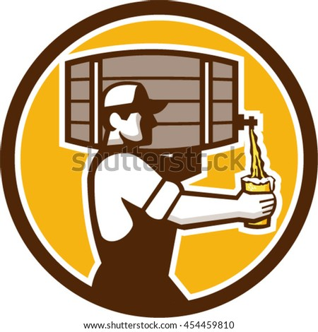 Illustration of bartender carrying keg on shoulder pouring beer from keg viewed from the side set inside circle done in retro style.