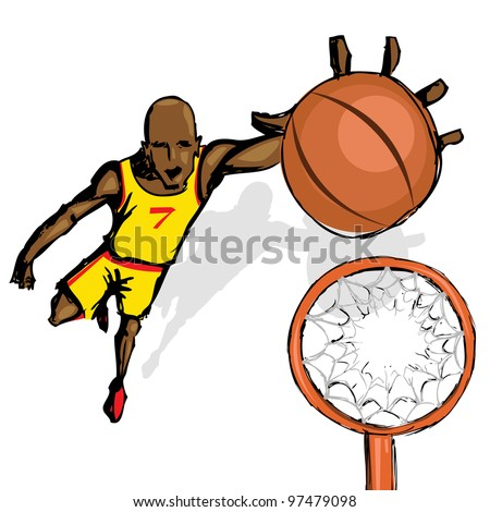 illustration of basket ball player jumping with ball - stock vector