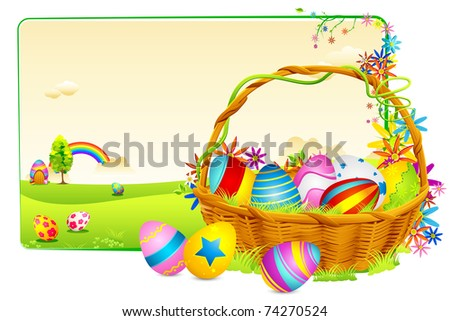 illustration of basket full of colorful decorated easter eggs on meadow - stock vector