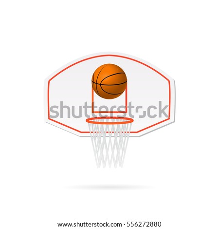 Illustration of basketball and backboard isolated on a white background.
