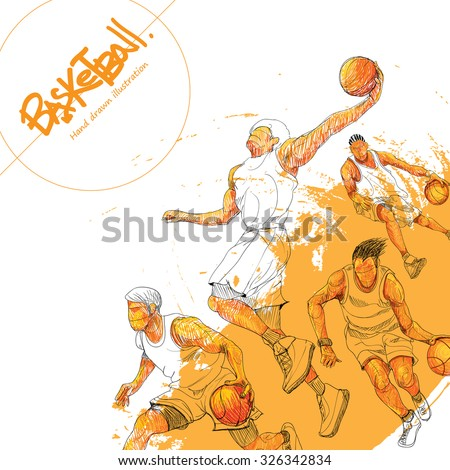 Illustration of basketball. hand drawn. basketball poster. Sport background. - stock vector