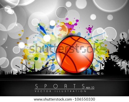 Illustration of Basketball on creative colorful grungy grey background with text space for your message. EPS 10. - stock vector