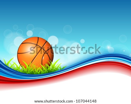 Illustration of Basketball on green grass and colorful wave background with text space for your message. EPS 10. - stock vector