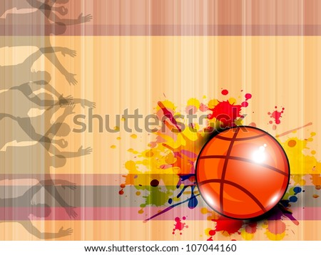 Illustration of Basketball on grungy abstract background with text space for your message. EPS 10. - stock vector