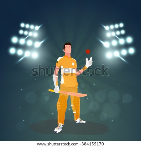 Illustration of Batsman holding bat and ball on sadium lights, rays background for Cricket Sports concept. - stock vector