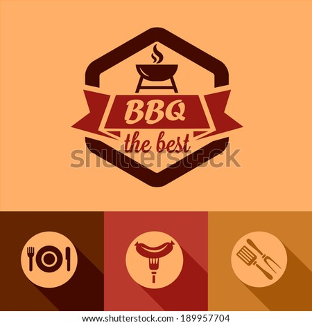 Illustration of BBQ Design Elements in Flat Design Style. - stock vector