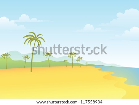 Illustration of Beach and Coconut Tree - stock vector