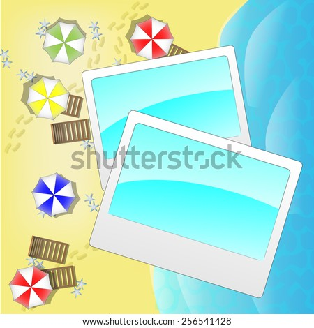 Illustration of beach from above with photo frames - stock vector