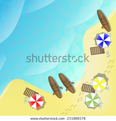Illustration of beach with sea, boats and parasols - stock vector