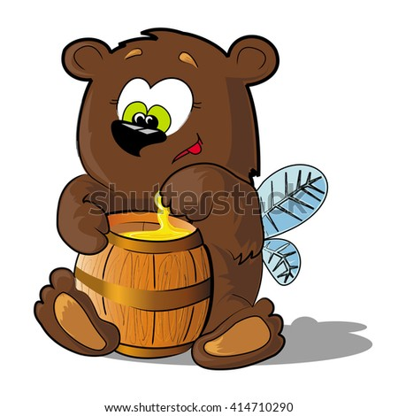 Illustration of bear with wings who eats honey