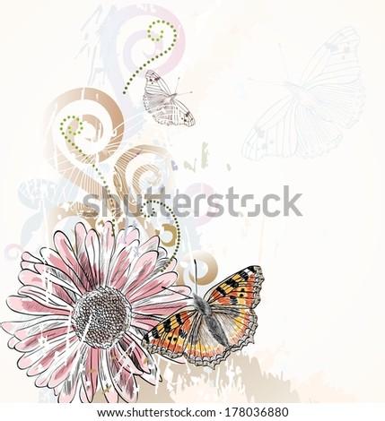 Illustration of beautiful butterflies flying around flower. - stock vector