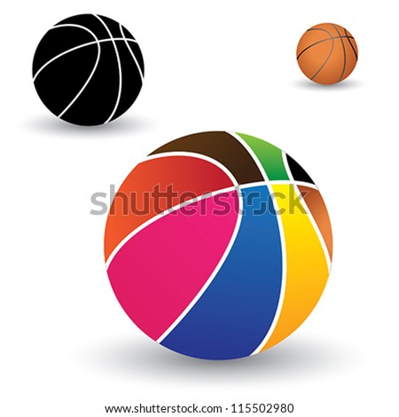 Illustration of beautiful colorful basket ball along with brown and black(and white) balls. The colors of the ball include red, yellow, orange, blue, pink, green, etc. - stock vector