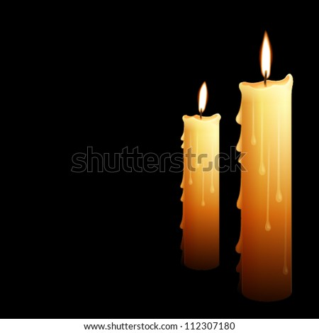 illustration of beautiful glowing candles with melted wax, suitable for Halloween holidays - stock vector