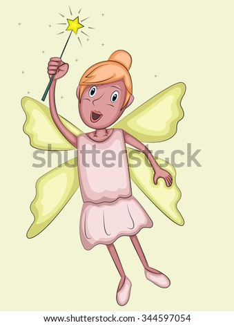 Illustration of beautiful mother fairy with magical wings and wand - stock vector
