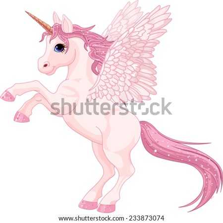 Illustration of beautiful pink Unicorn Pegasus - stock vector