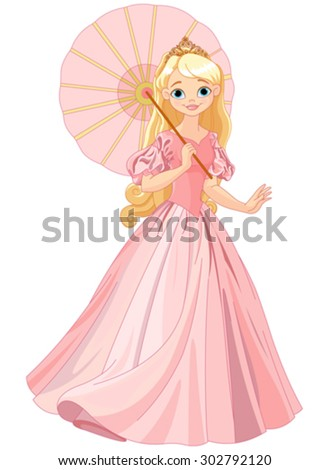 Illustration of beautiful princess at summer day under umbrella - stock vector