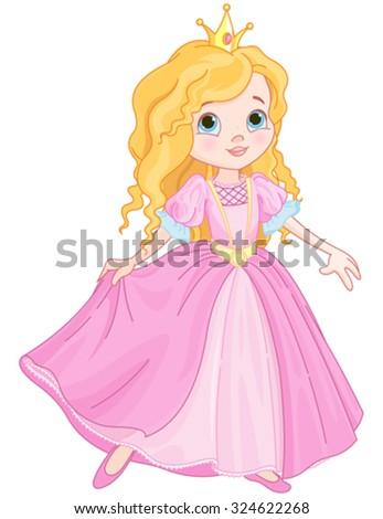 Illustration of beautiful princess dancing - stock vector