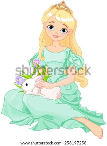 Illustration of beautiful princess holds cute rabbit  - stock vector