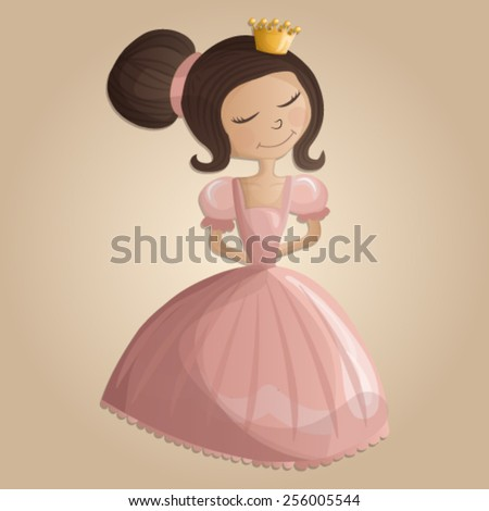 Illustration of beautiful princess in pink dress with crown - stock vector