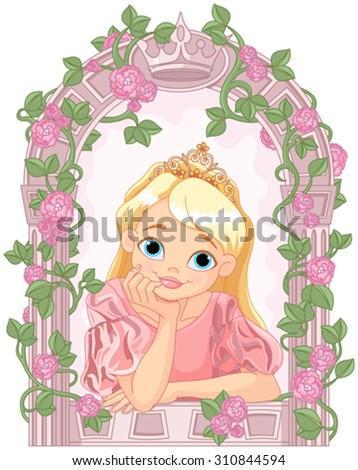 Illustration of beautiful princess looking through a window - stock vector