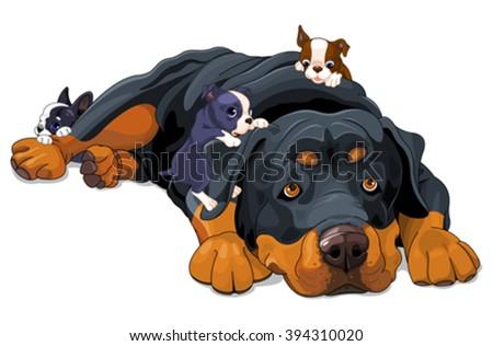 Illustration of beautiful Rottweiler family - stock vector