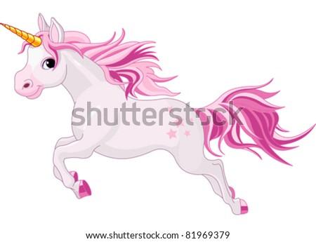 Illustration of beautiful running unicorn - stock vector