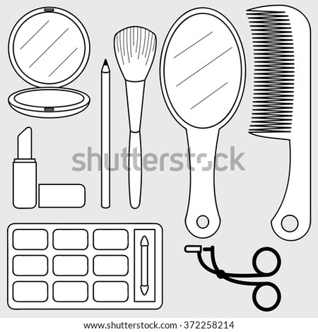 illustration of beauty accessories, make up
