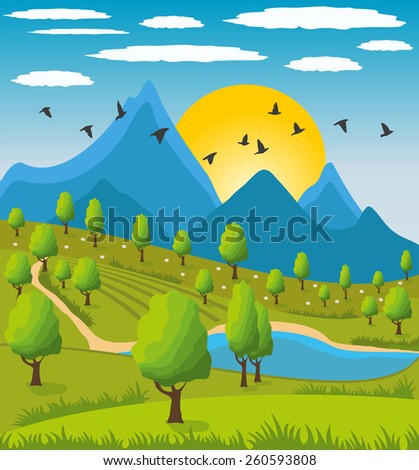Illustration of beauty landscape with tree and mountain background - stock vector