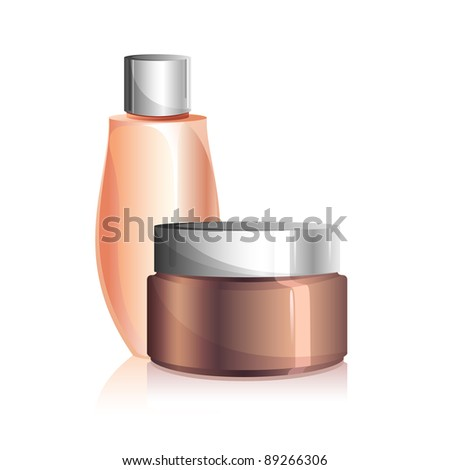 illustration of beauty lotion and cream on white background - stock vector