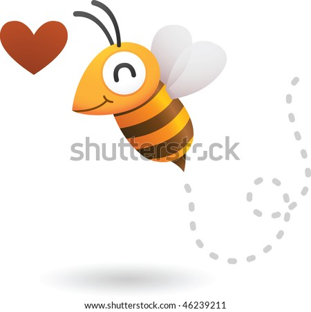 Illustration of bee in love - stock vector