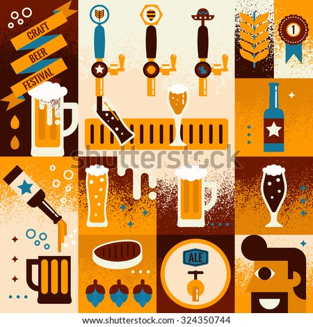 Illustration of beer concept collage background with elements - stock vector
