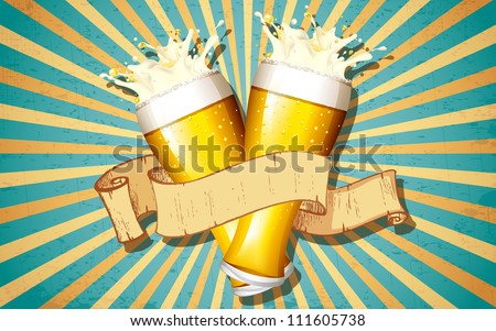 illustration of beer glass with ribbon on victorian background - stock vector