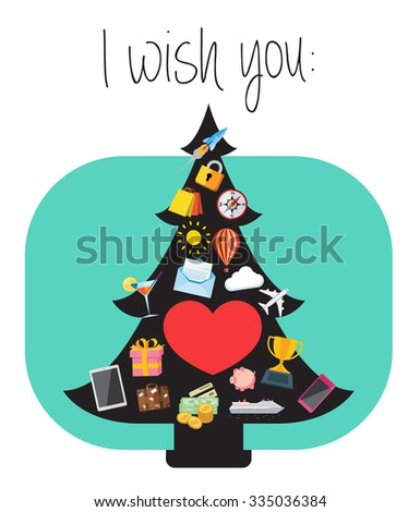 Illustration of best wishes for the New Year greeting card. Flat design illustration of Christmas tree decorated with icons that are symbols of best wishes. - stock vector