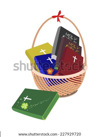 Illustration of Bible Book on A Beautiful Wicker Basket Isolated on White Background, The Foundation of Christianity.  - stock vector