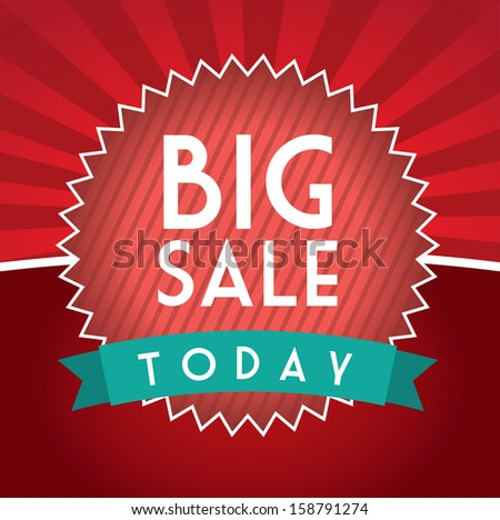 Illustration of  Big Sale label, over red background vector illustration - stock vector