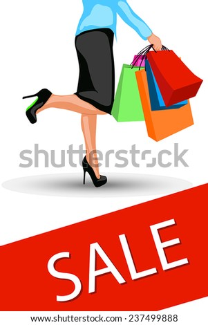 illustration of big sale. woman carry a lot of bags - stock vector