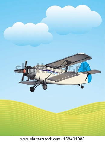 Illustration of biplane flying outdoors. No gradients used. - stock vector