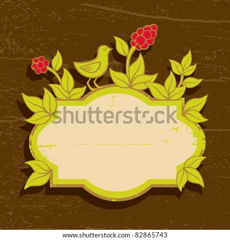 Illustration of birds and plants with berries - stock vector
