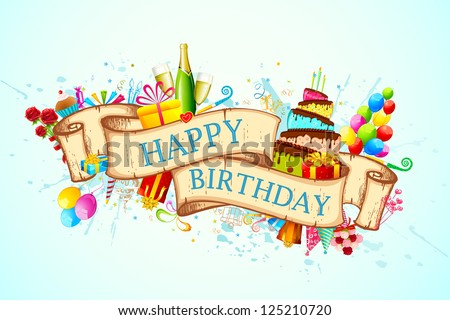 illustration of birthday background with objects around ribbon - stock vector