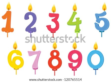 illustration of birthday candles on a white background - stock vector