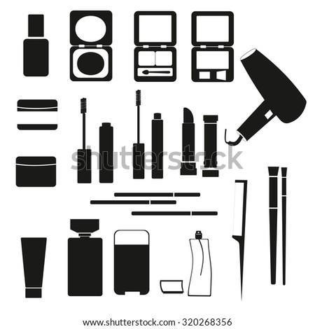 illustration black white cosmetics beauty icons stock