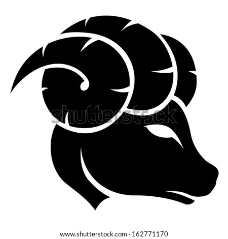 Illustration of Black Aries Zodiac Star Sign isolated on a white background - stock vector