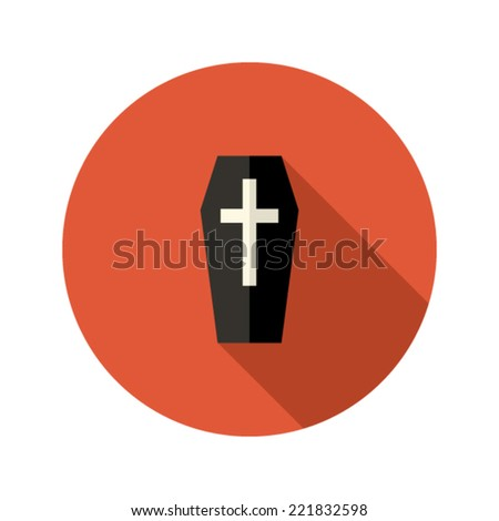 Illustration of Black Coffin Flat Icon with Cross - stock vector
