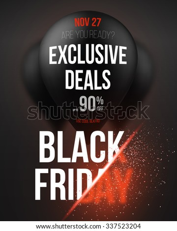 Illustration of Black Friday Sale Air Balloon Poster Template with Explosion Effect. Realistic 3D Vector EPS10 Air Balloons