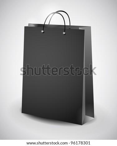 illustration of black shopping bag - stock vector