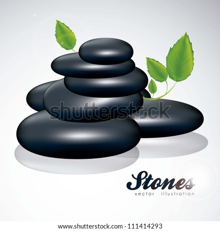 illustration of black stones with green leaves isolated on white background, vector illustration