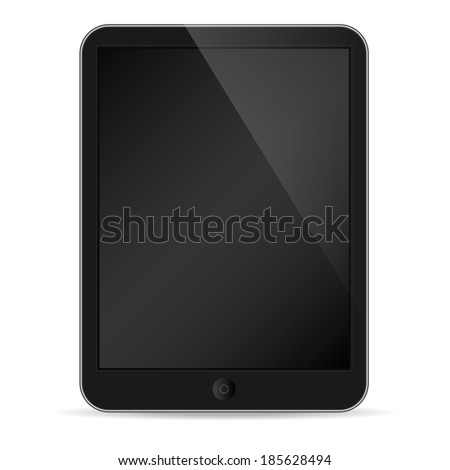 Illustration of black tablet pc same with ipade on white  - stock vector